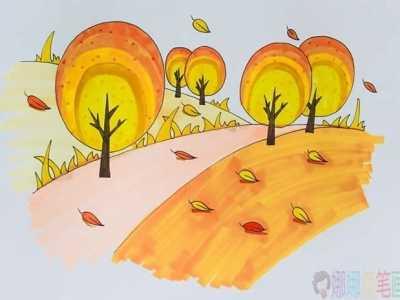 秋天风景简笔画彩色画法图片 儿童运动卡通简笔画